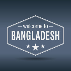 welcome to Bangladesh hexagonal white vintage label