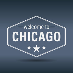 welcome to Chicago hexagonal white vintage label