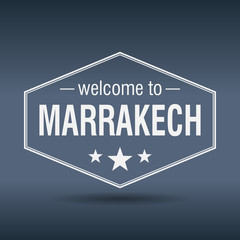 welcome to Marrakech hexagonal white vintage label