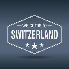 welcome to Switzerland hexagonal white vintage label