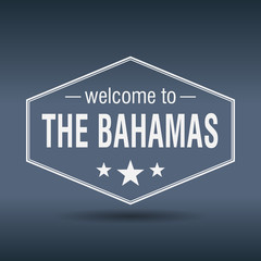 welcome to The Bahamas hexagonal white vintage label