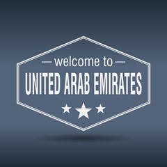 welcome to United Arab Emirates hexagonal white vintage label