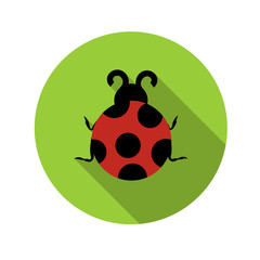 Flat Design Concept Ladybug Vector Illustration With Long Shadow