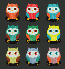 set of colorful owl graphic.