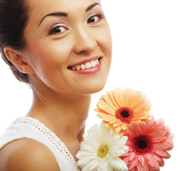 young asian woman with bouquet flowers