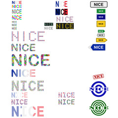 Nice (Nizza) text design set