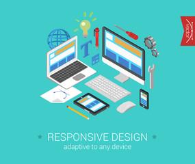 Flat 3d isometric concept vector web responsive website