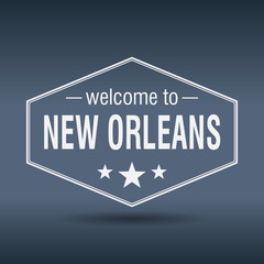 welcome to New Orleans hexagonal white vintage label