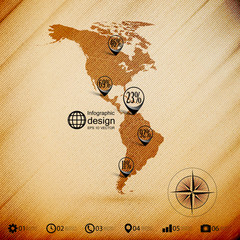 North and South America map, wooden design background,