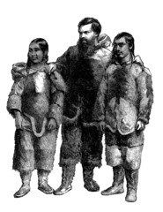 Inuit Pair & Polar Explorer - end 19th century