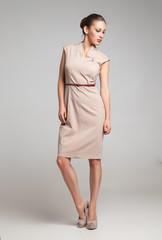 Full Length Portrait of Sexy Woman Fashion Dress