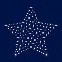 Christmas Star From Star on Grunge Background Vector