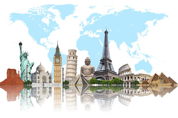 Wall Mural - Travel the world monuments concept