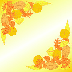 Vector card background with leaves