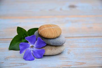 Aluminium Prints Nature Drie Zen stenen op oud hout met paarse bloem