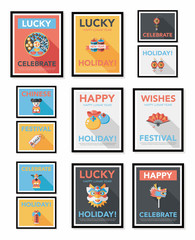 Chinese New Year poster flat banner design flat background set,
