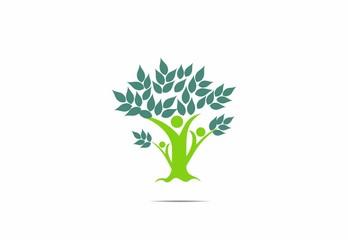 Teamwork, people, green, tree, leaves, logo, vector
