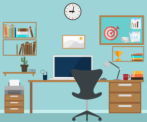 Workspace interior with office objects