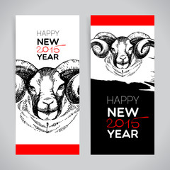 Happy New Year and Merry Christmas banner set. Hand drawn sketch