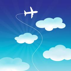 Foto op Plexiglas Hemel Airplane Flying on the Blue Sky