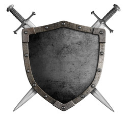coat of arms medieval knight shield and sword isolated