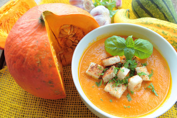 Pumpkin soup with fresh herbs