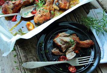 Roasted chicken legs with herbs