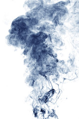 Blue smoke on white
