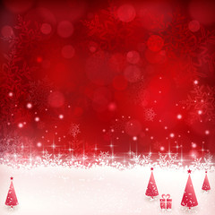 Red Christmas background with snowflakes, stars and Christmas tr
