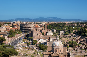 Wall Mural - Ariel view of Rome: including the Colosseum and Roman Forum..