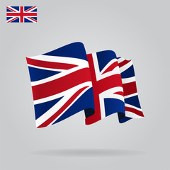 Flat and waving British Flag. Vector