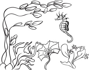 Sketch, underwater, seaweed and sea horse