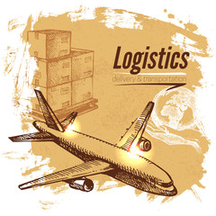 Sketch logistics and delivery background. Hand drawn vector