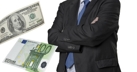 Financial executive with euro and dollar bills