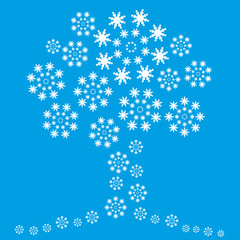 vector snowflakes tree