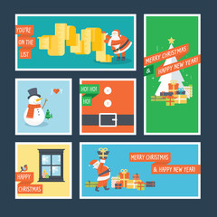 Set of flat design Christmas and New Year greeting cards