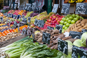 Fresh fruit and vegetables on market