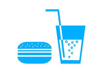 Blue hamburger icon on white background