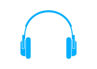 Blue headphones icon on white background