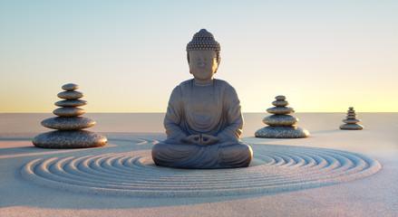 Türaufkleber Buddha Buddha in Abendstimmung