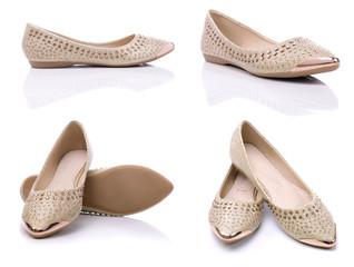 Fototapeta Urban comfortable flat shoes for women on a white background