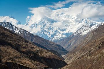 Annapurna Circuit - popular turists trek in Himalayas , Nepal