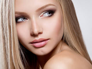Closeup Beautiful  face of young woman with long white hair