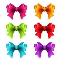 Set of holiday ribbon with bow