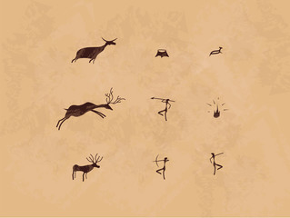 Prehistoric cave painting icon set. Mural.