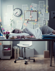 Woman sleeping in office overnight