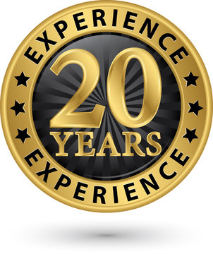 20 years experience gold label, vector illustration