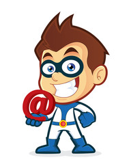Superhero holding an email at