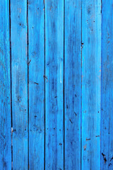 Blue planks. Old wooden plank painted in bright blue color