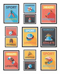 Sport poster flat banner design flat background set, eps10